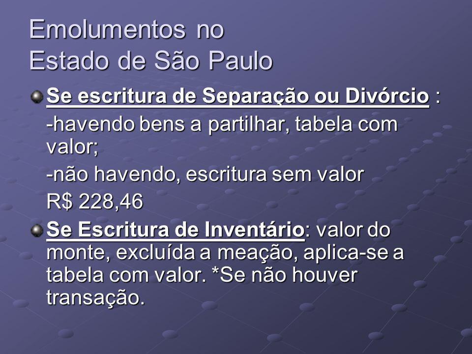 Emolumentos no Estado de São Paulo