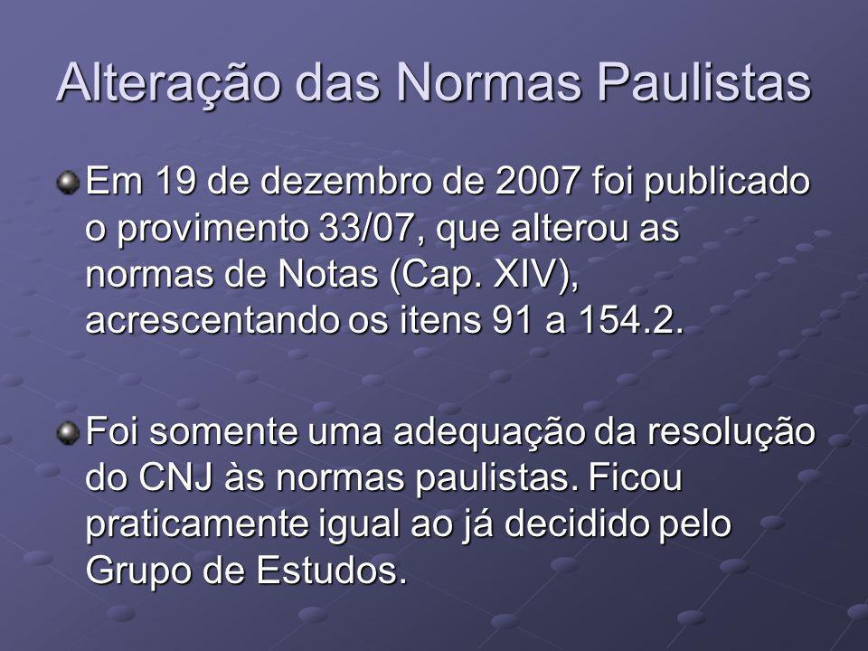Alteração das Normas Paulistas