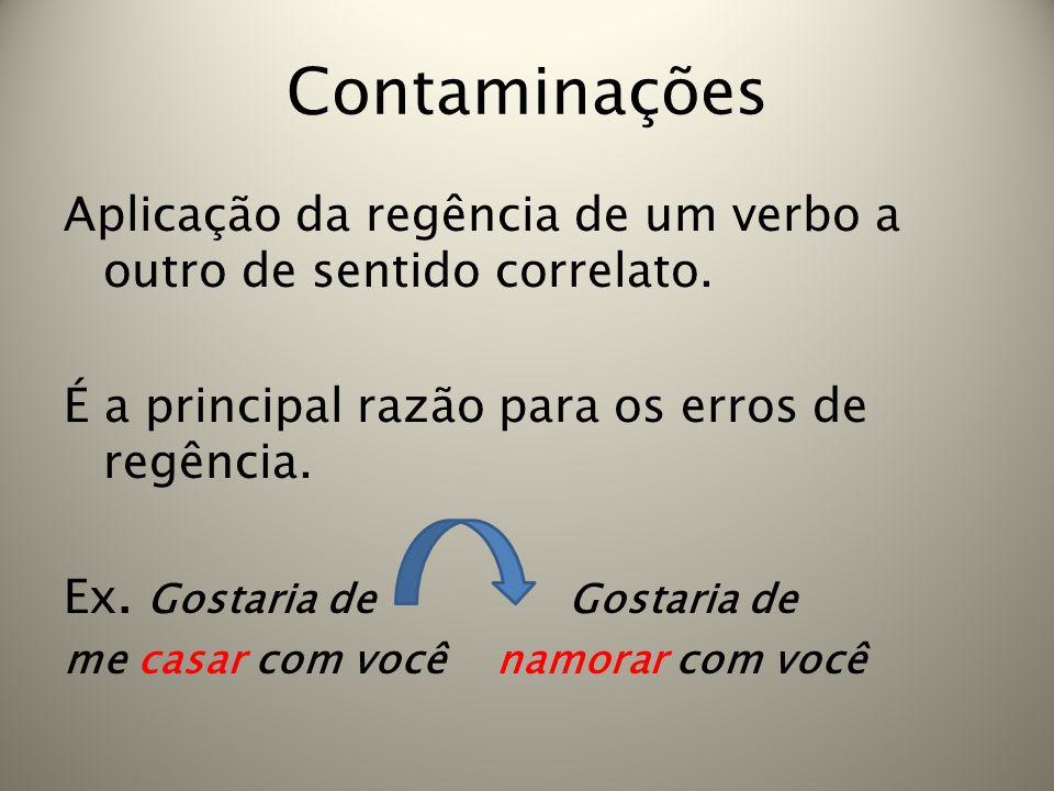 Contaminações Aplicação da regência de um verbo a outro de sentido correlato. É a principal razão para os erros de regência.