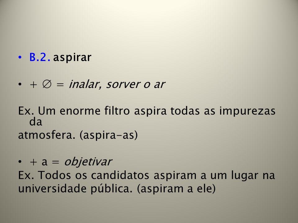 B.2. aspirar + ∅ = inalar, sorver o ar. Ex. Um enorme filtro aspira todas as impurezas da. atmosfera. (aspira-as)
