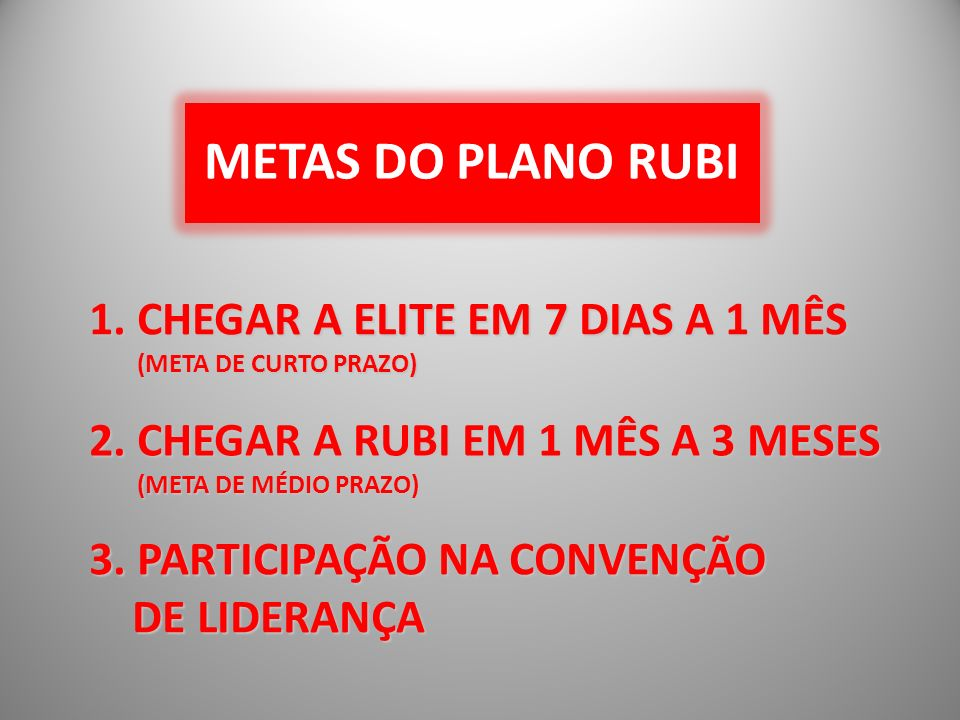 METAS DO PLANO RUBI 1. CHEGAR A ELITE EM 7 DIAS A 1 MÊS