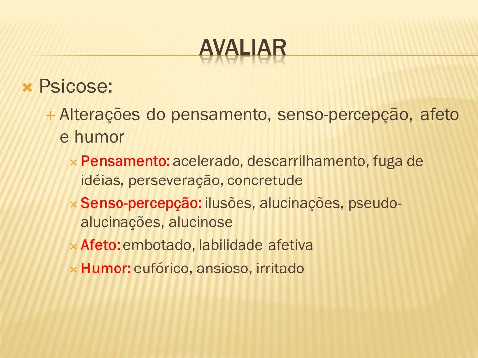 AVALIAR Psicose: Alterações do pensamento, senso-percepção, afeto e humor.