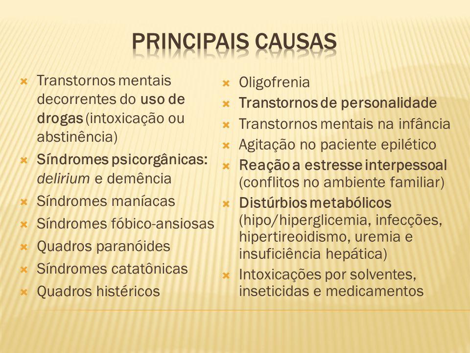 PRINCIPAIS CAUSAS Transtornos mentais decorrentes do uso de drogas (intoxicação ou abstinência) Síndromes psicorgânicas: delirium e demência.