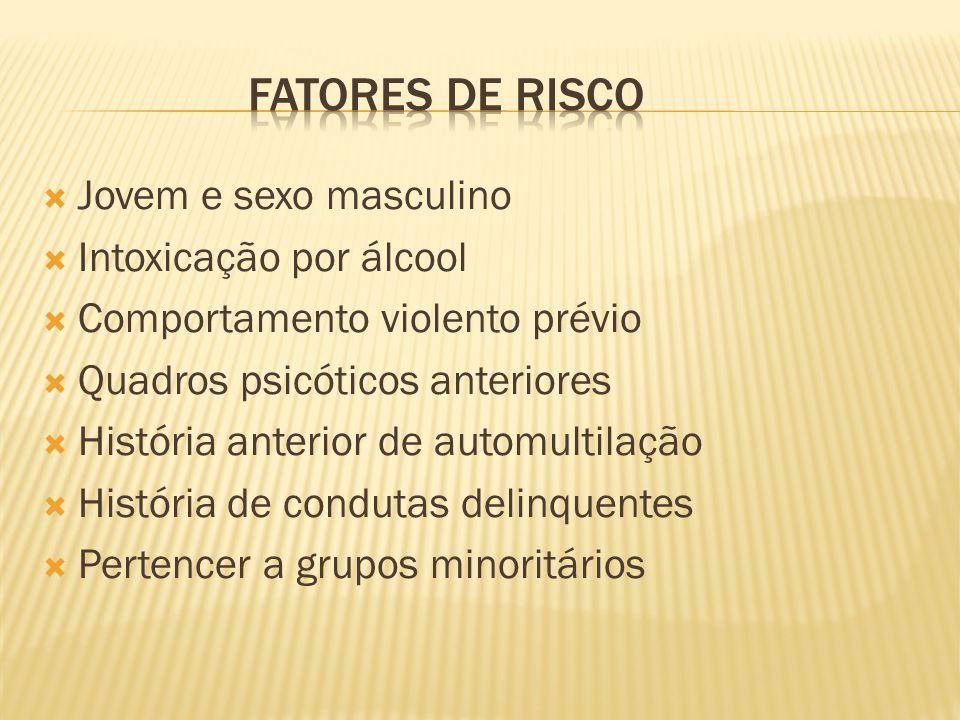 FATORES DE RISCO Jovem e sexo masculino Intoxicação por álcool