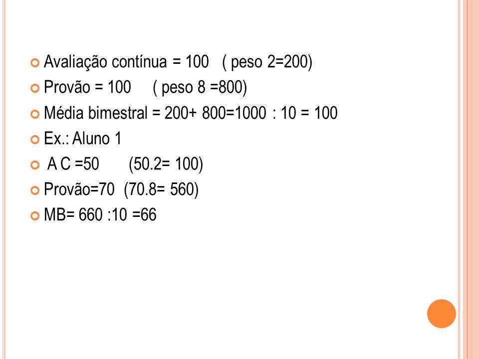 Avaliação contínua = 100 ( peso 2=200)