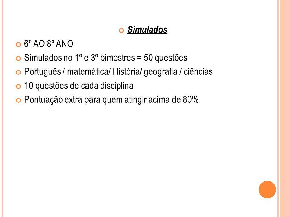 Simulados 6º AO 8º ANO. Simulados no 1º e 3º bimestres = 50 questões. Português / matemática/ História/ geografia / ciências.