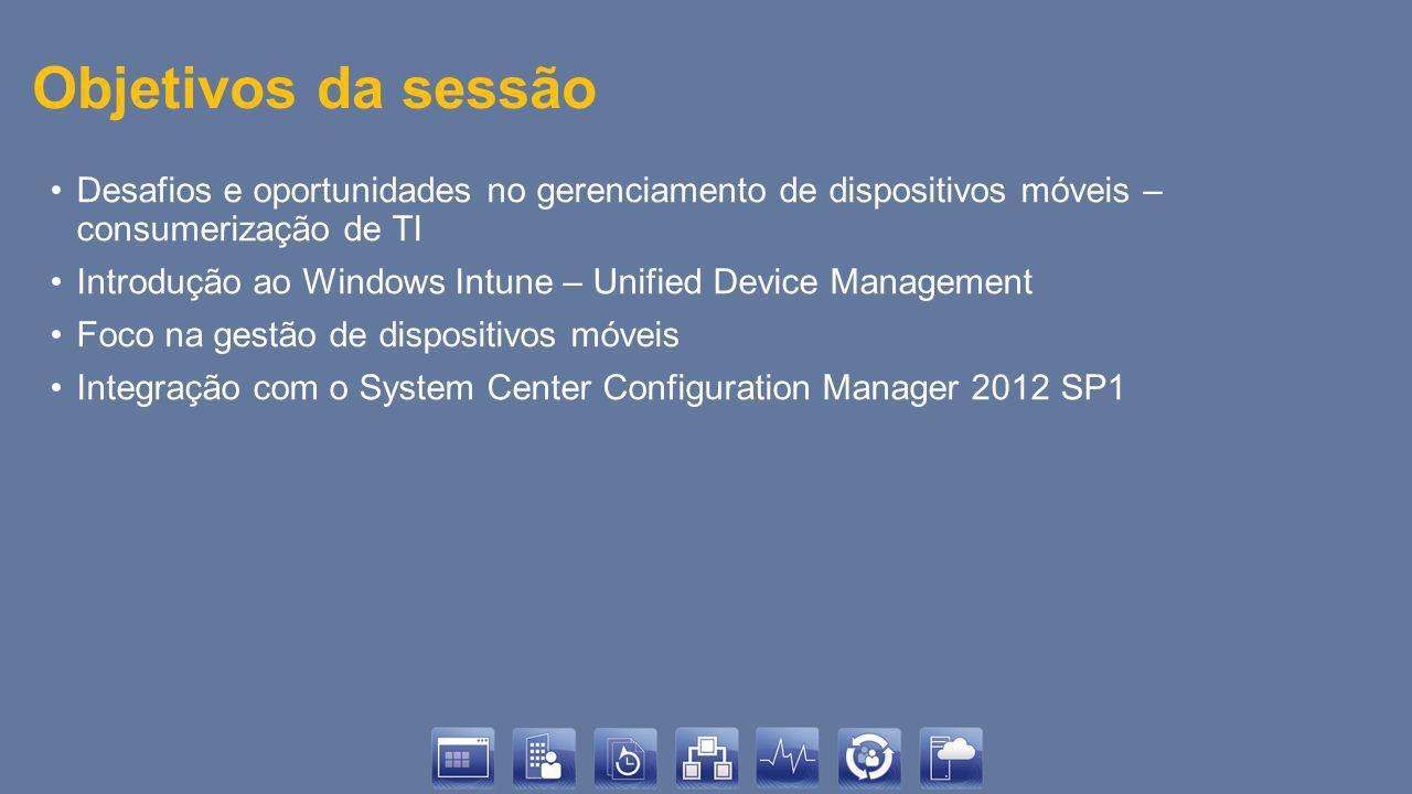 Objetivos da sessão Desafios e oportunidades no gerenciamento de dispositivos móveis – consumerização de TI.