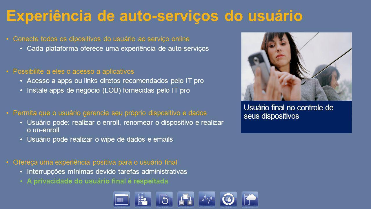 Experiência de auto-serviços do usuário