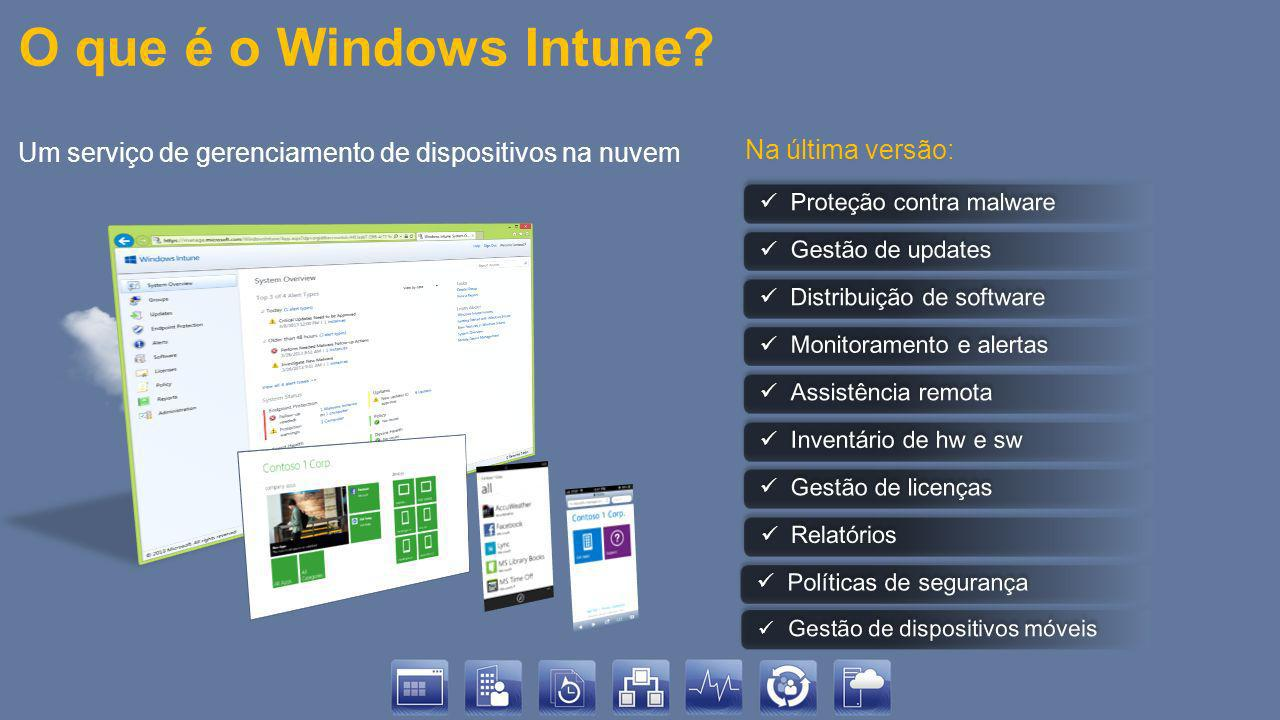 O que é o Windows Intune Um serviço de gerenciamento de dispositivos na nuvem. Na última versão: Proteção contra malware.