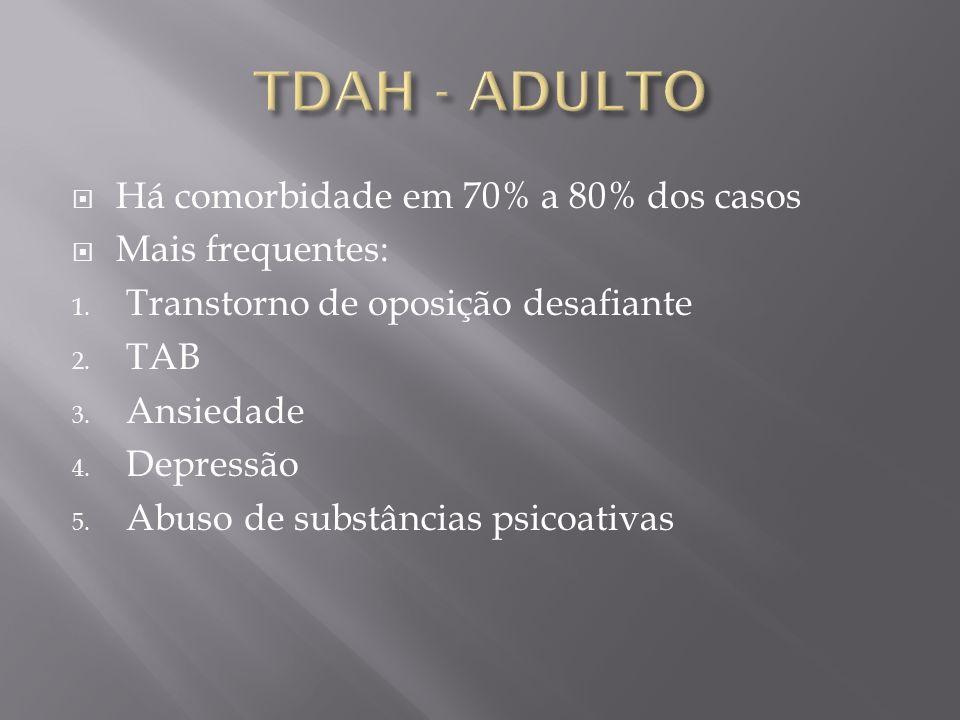 TDAH - ADULTO Há comorbidade em 70% a 80% dos casos Mais frequentes: