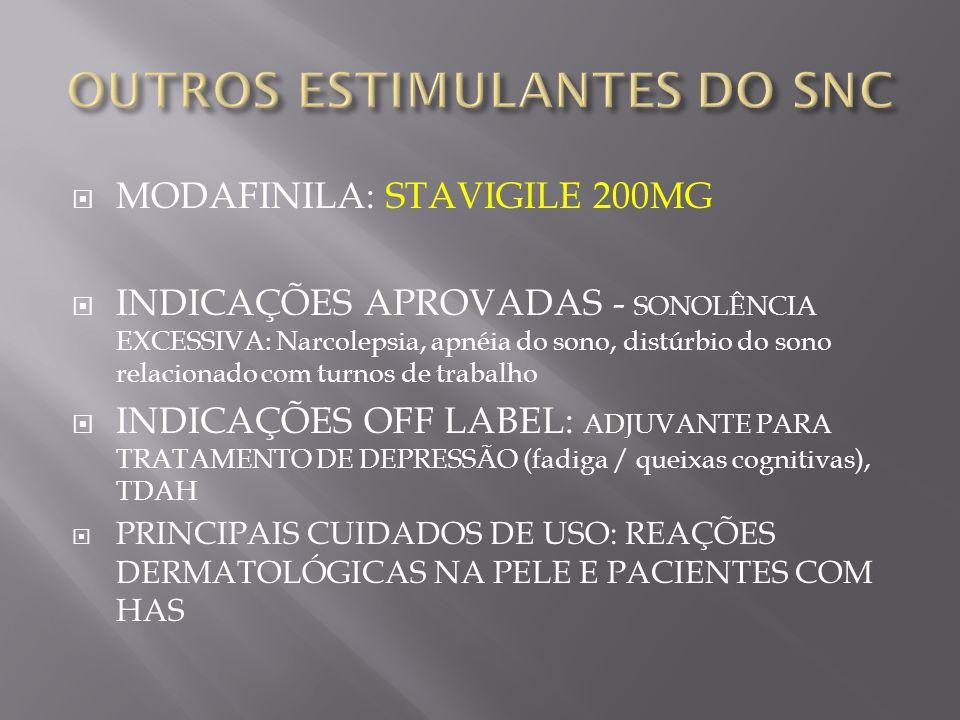 OUTROS ESTIMULANTES DO SNC