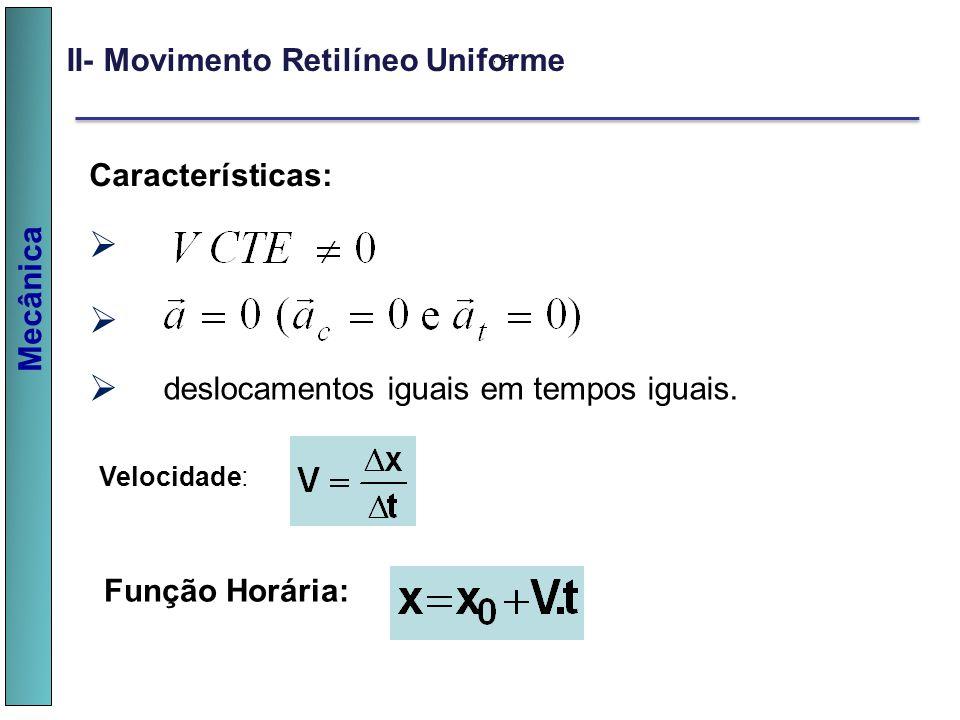 v v v II- Movimento Retilíneo Uniforme Características: