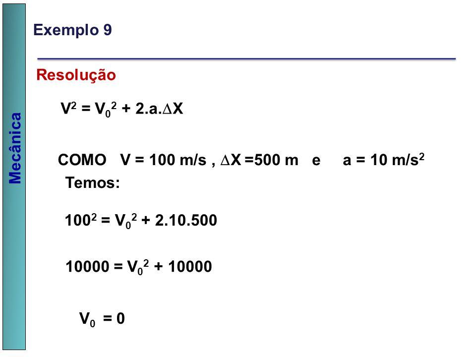 Exemplo 9 Resolução. V2 = V02 + 2.a.X. COMO V = 100 m/s , X =500 m e a = 10 m/s2. Temos: