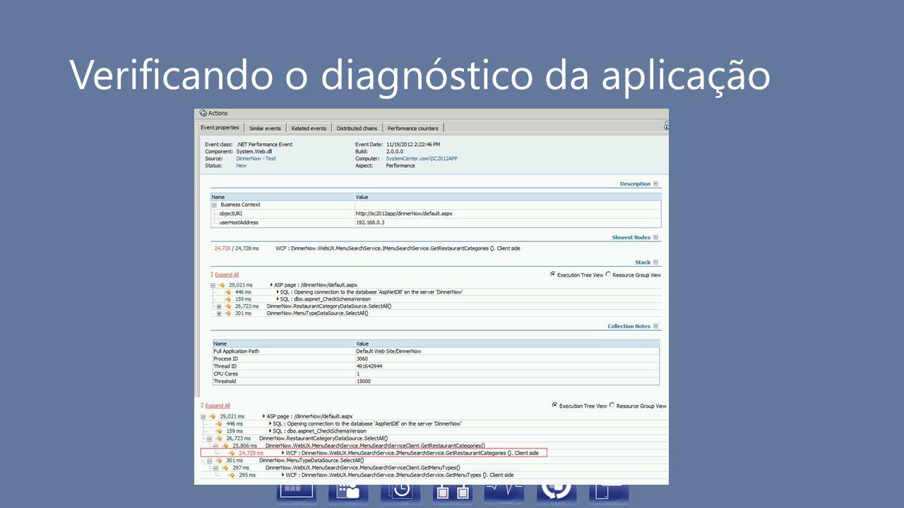 Verificando o diagnóstico da aplicação