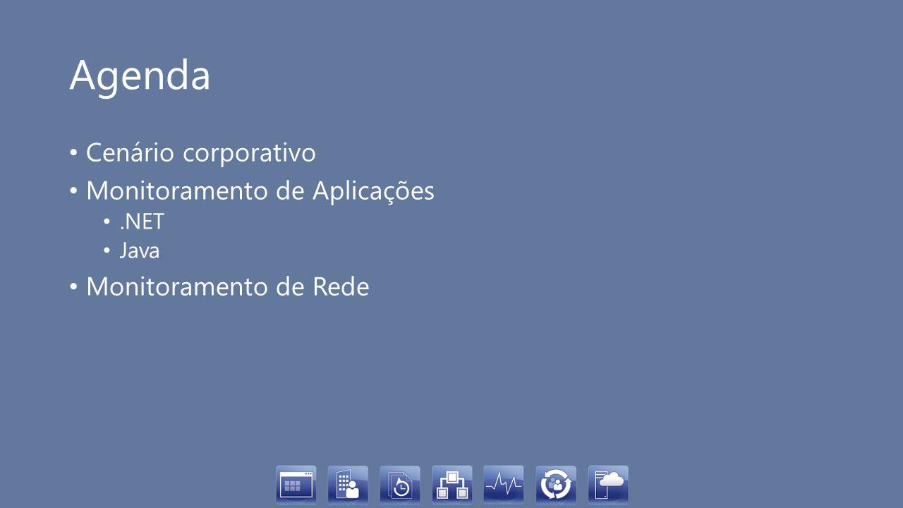 Agenda Cenário corporativo Monitoramento de Aplicações