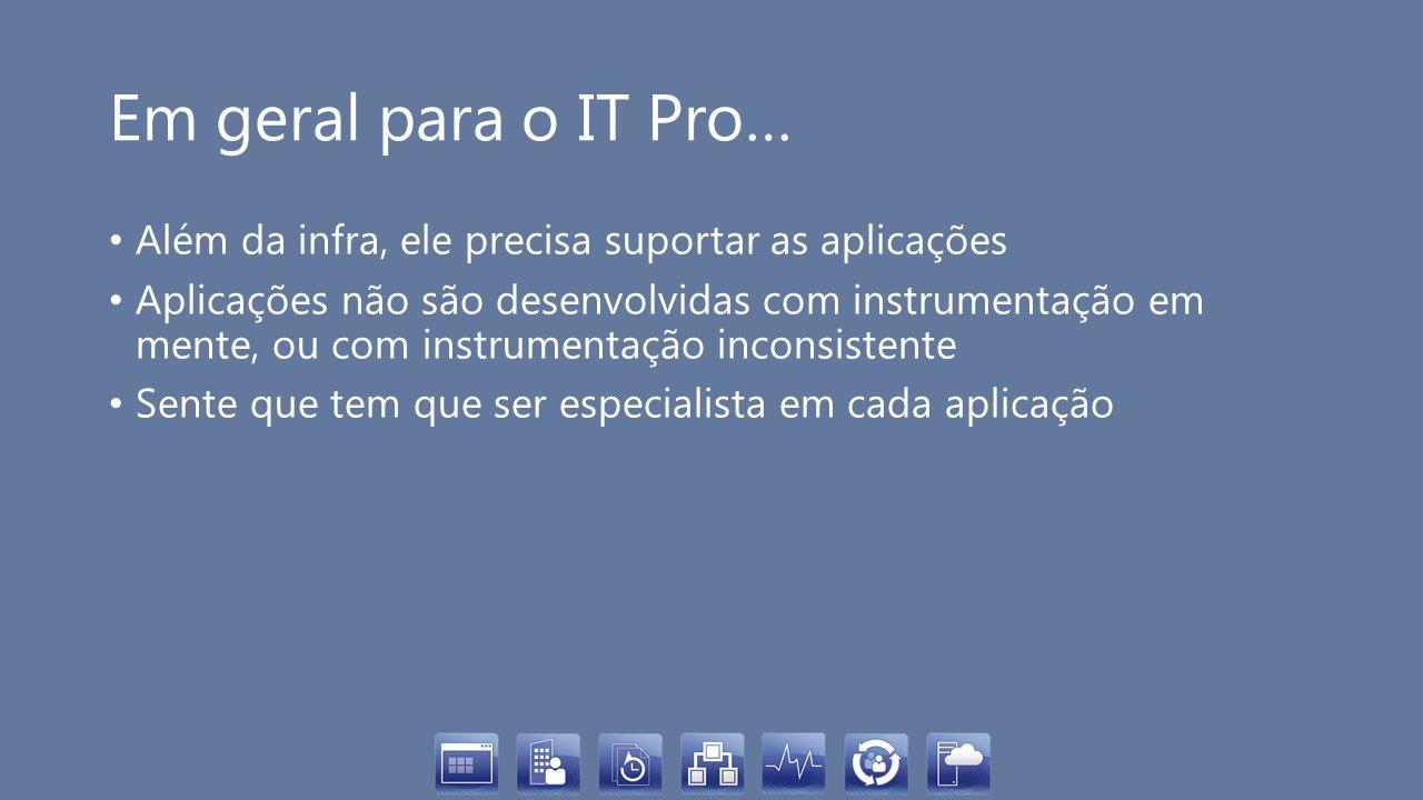 Em geral para o IT Pro… Além da infra, ele precisa suportar as aplicações.