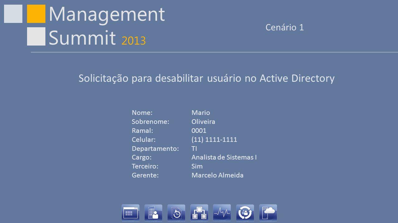 Solicitação para desabilitar usuário no Active Directory