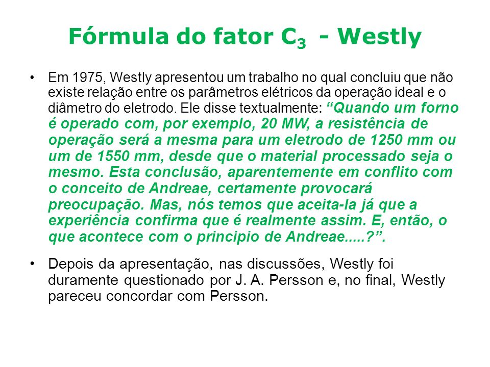 Fórmula do fator C3 - Westly