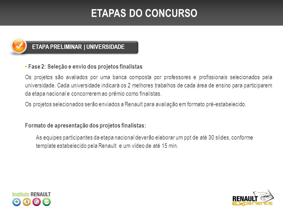 ETAPAS DO CONCURSO ETAPA PRELIMINAR | UNIVERSIDADE