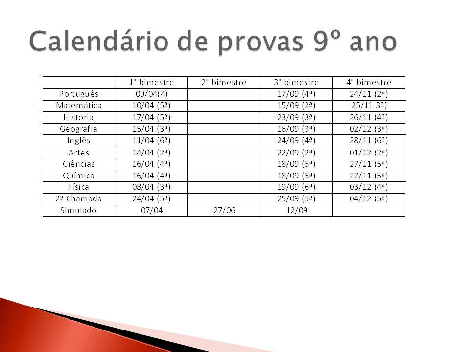Calendário de provas 9º ano