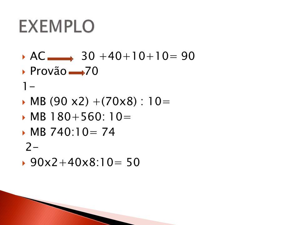 EXEMPLO AC 30 +40+10+10= 90 Provão 70 1- MB (90 x2) +(70x8) : 10=