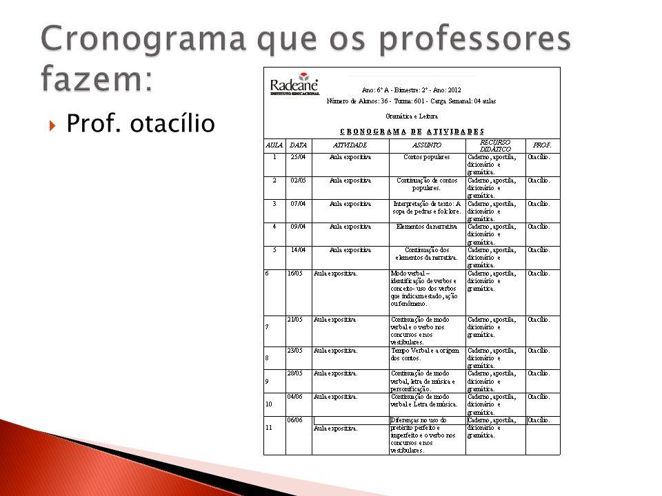 Cronograma que os professores fazem: