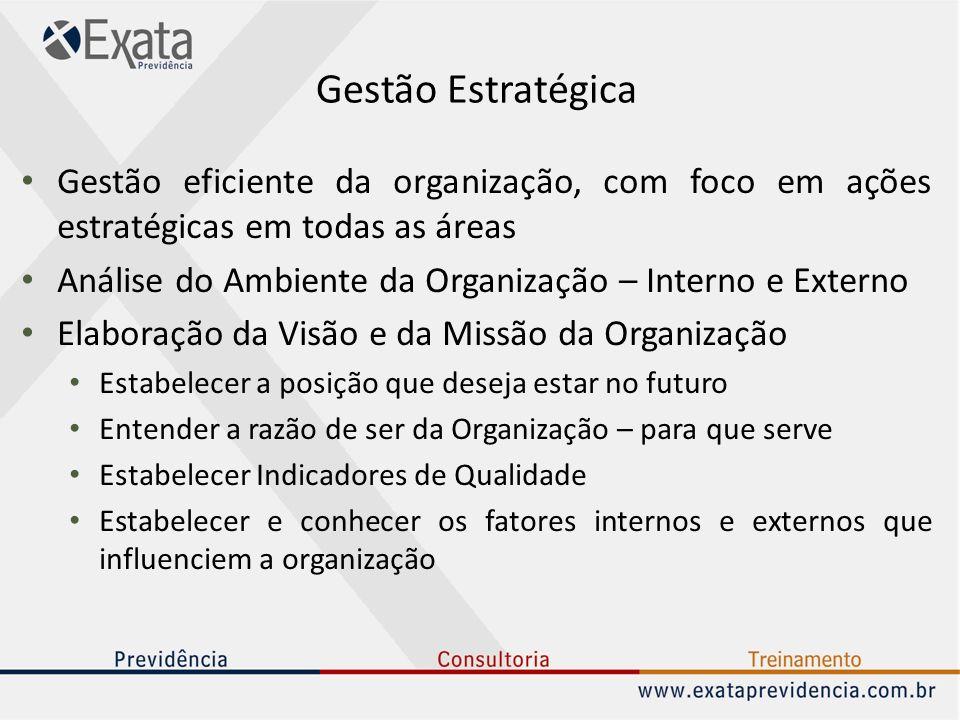 Gestão Estratégica Gestão eficiente da organização, com foco em ações estratégicas em todas as áreas.