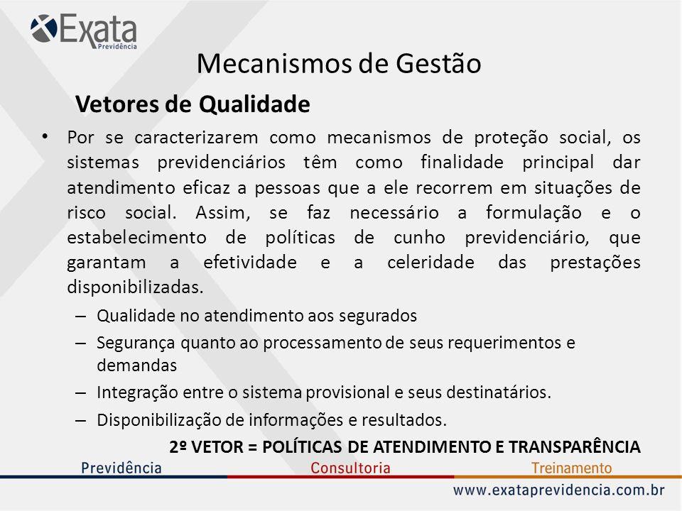 2º VETOR = POLÍTICAS DE ATENDIMENTO E TRANSPARÊNCIA