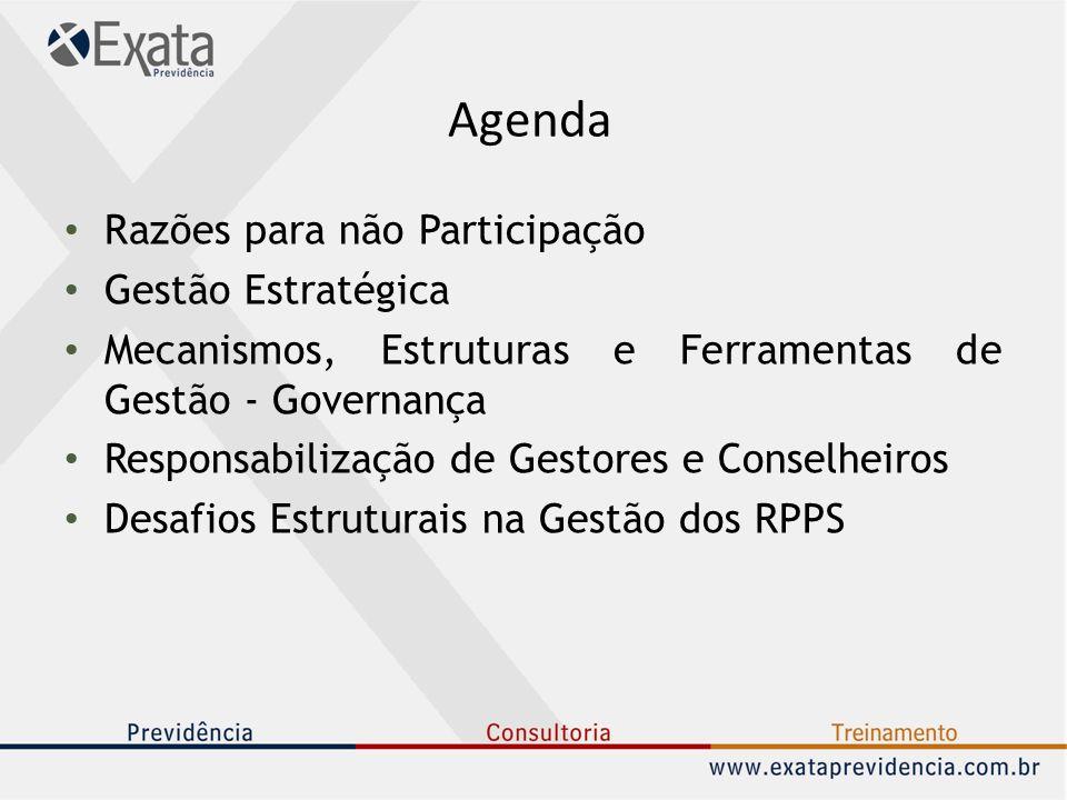 Agenda Razões para não Participação Gestão Estratégica