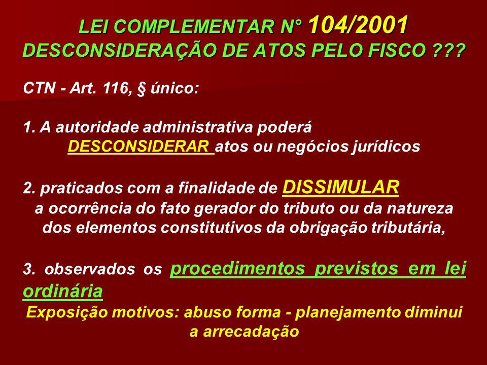 LEI COMPLEMENTAR N° 104/2001 DESCONSIDERAÇÃO DE ATOS PELO FISCO