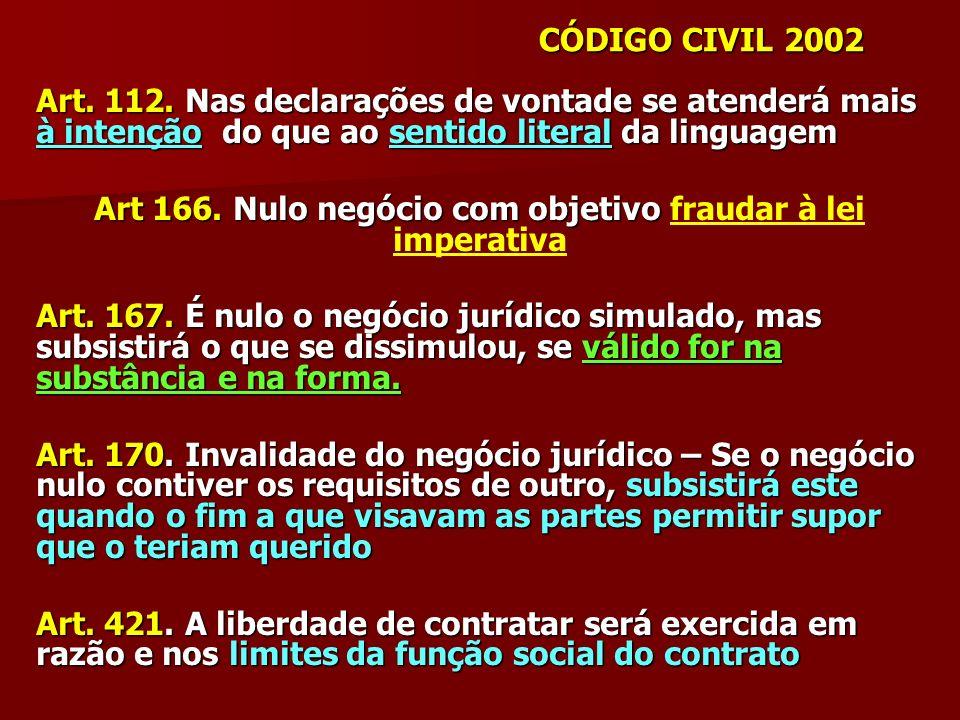 Art 166. Nulo negócio com objetivo fraudar à lei imperativa