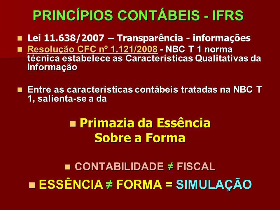 PRINCÍPIOS CONTÁBEIS - IFRS