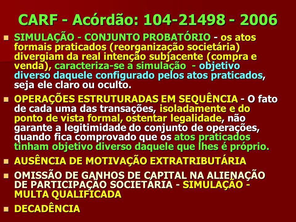 CARF - Acórdão: 104-21498 - 2006