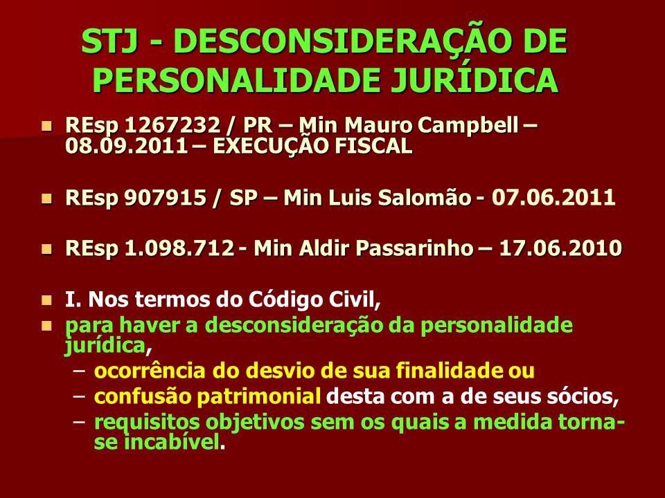 STJ - DESCONSIDERAÇÃO DE PERSONALIDADE JURÍDICA