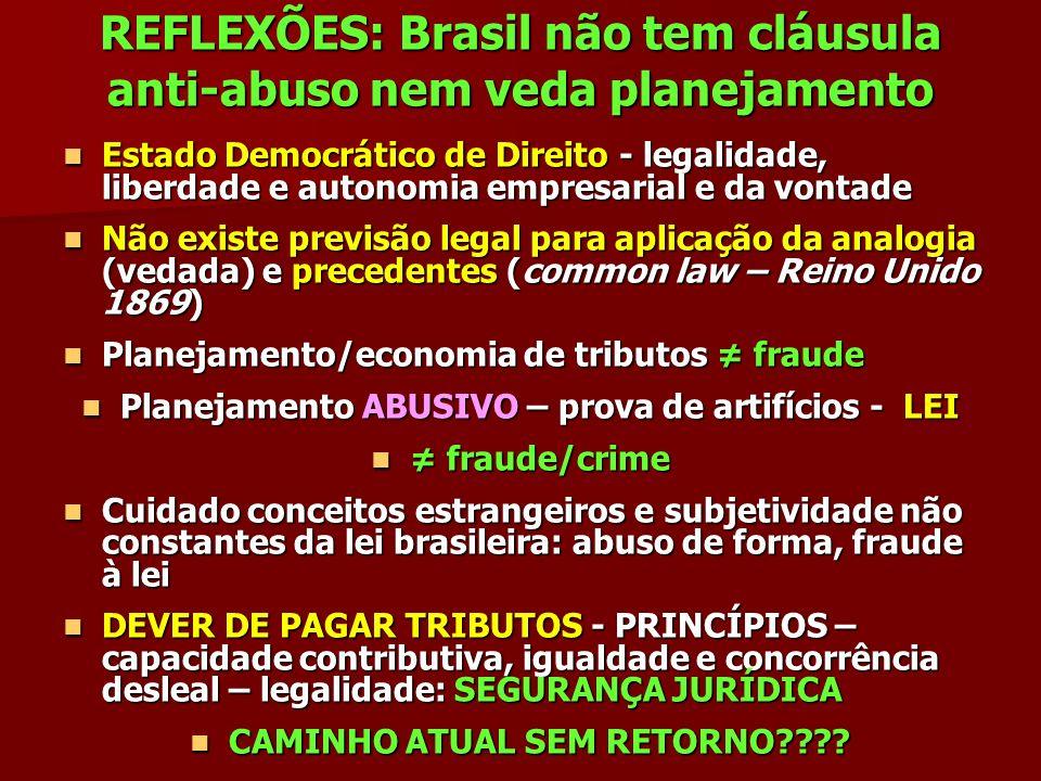 REFLEXÕES: Brasil não tem cláusula anti-abuso nem veda planejamento