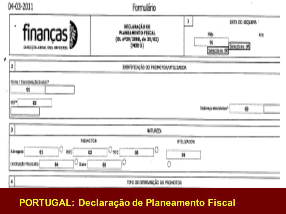 PORTUGAL: Declaração de Planeamento Fiscal