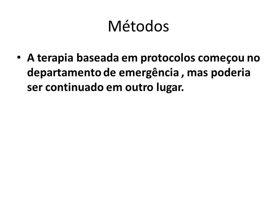 Métodos A terapia baseada em protocolos começou no departamento de emergência , mas poderia ser continuado em outro lugar.