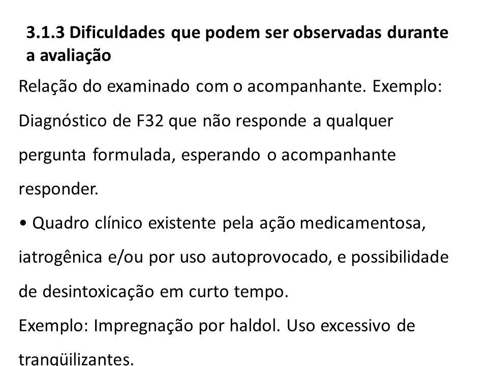 3.1.3 Dificuldades que podem ser observadas durante a avaliação