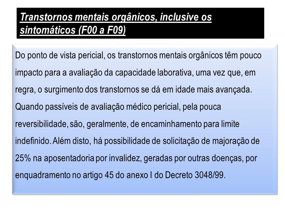 Transtornos mentais orgânicos, inclusive os sintomáticos (F00 a F09)