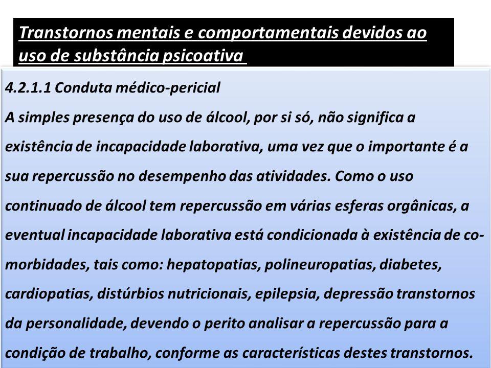 Transtornos mentais e comportamentais devidos ao uso de substância psicoativa (F10 a F19)