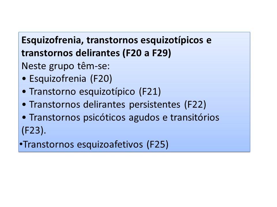 Esquizofrenia, transtornos esquizotípicos e transtornos delirantes (F20 a F29)