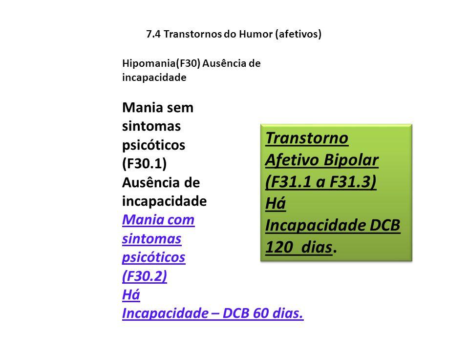 Transtorno Afetivo Bipolar (F31.1 a F31.3) Há