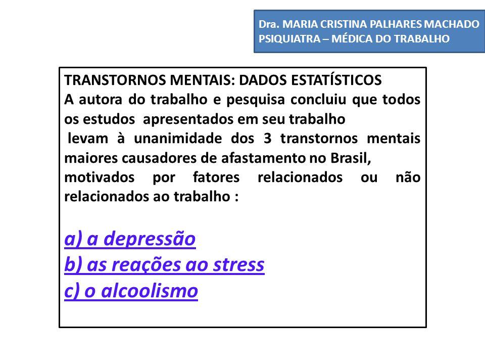 a) a depressão b) as reações ao stress c) o alcoolismo