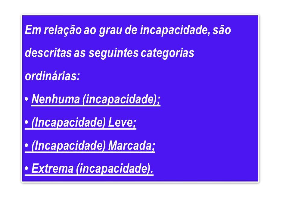 Em relação ao grau de incapacidade, são descritas as seguintes categorias