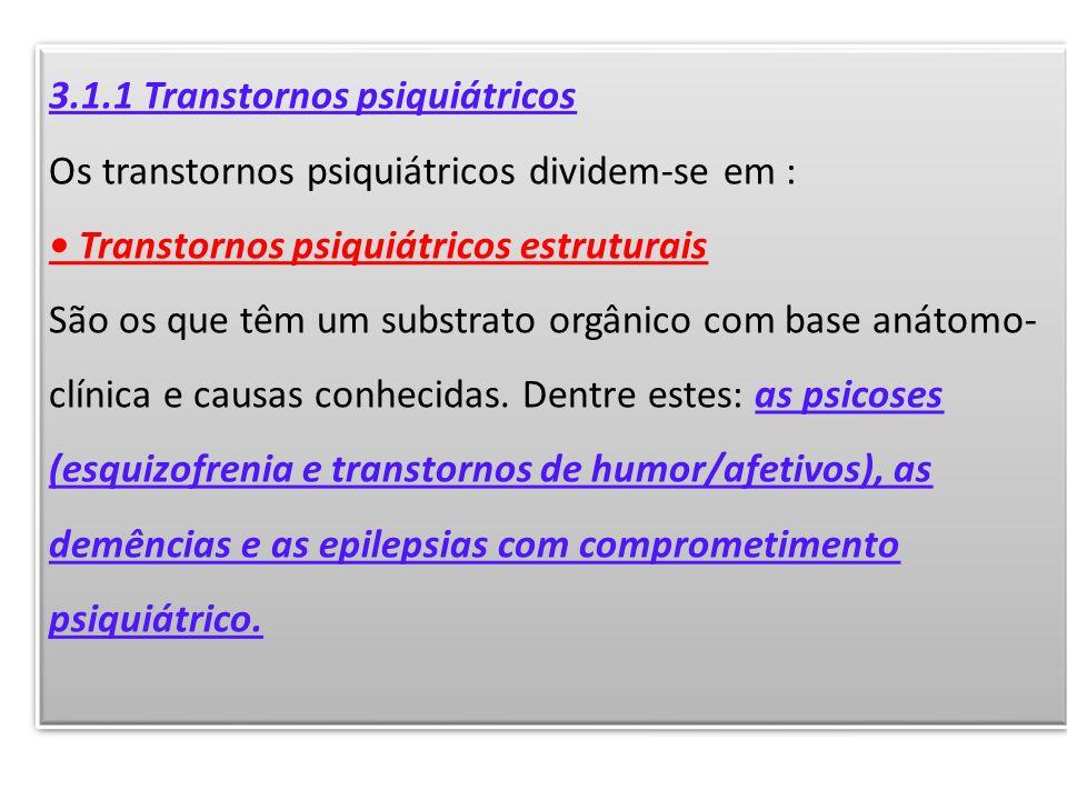 3.1.1 Transtornos psiquiátricos