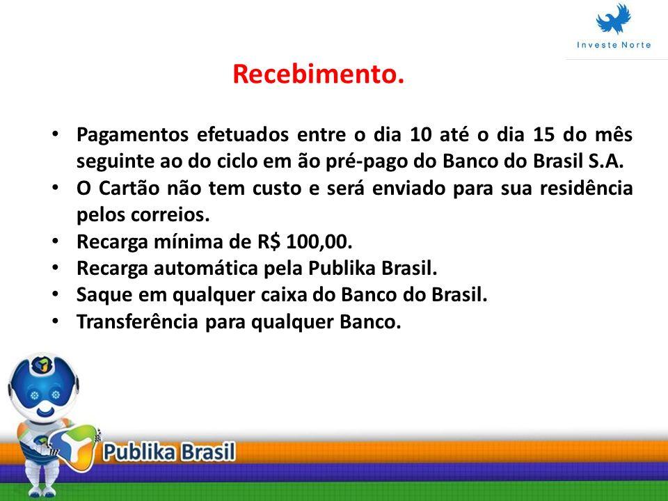 Recebimento.Pagamentos efetuados entre o dia 10 até o dia 15 do mês seguinte ao do ciclo em ão pré-pago do Banco do Brasil S.A.