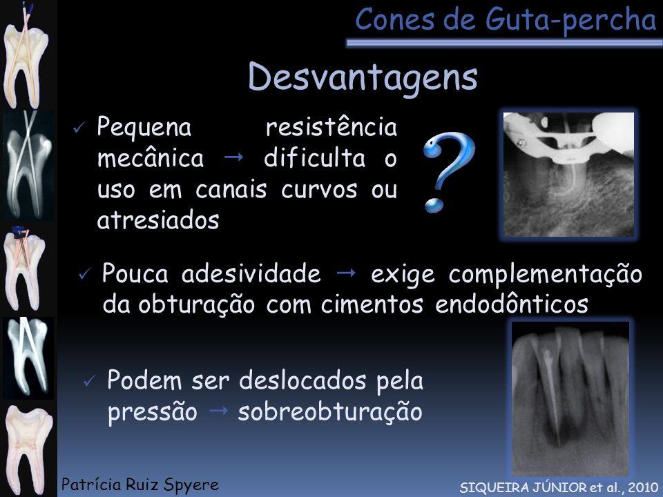 Desvantagens Cones de Guta-percha