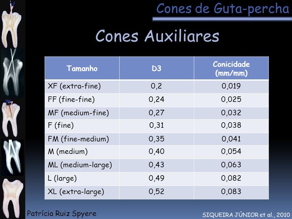 Cones Auxiliares Cones de Guta-percha Tamanho D3 Conicidade (mm/mm)