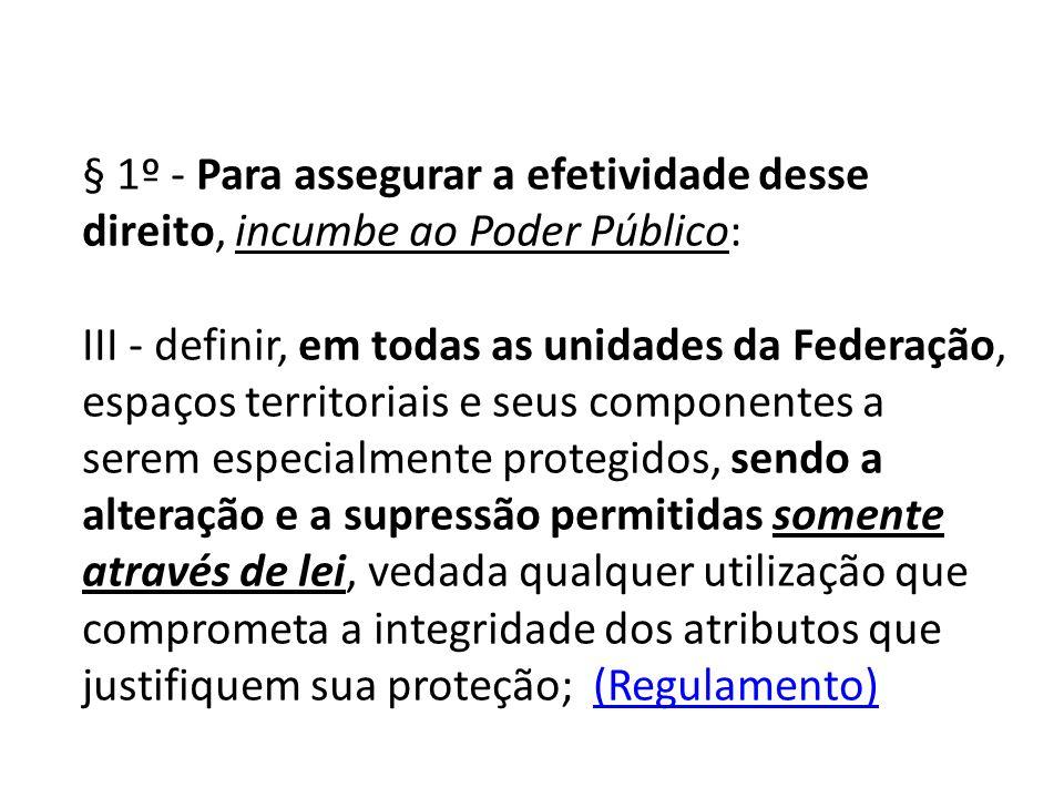 § 1º - Para assegurar a efetividade desse direito, incumbe ao Poder Público: