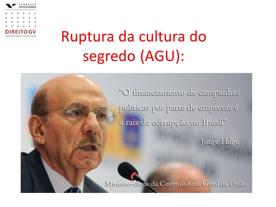Ruptura da cultura do segredo (AGU):